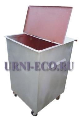 Контейнер ТБО с крышкой с колесами объем 750л толщина металла 1,5мм